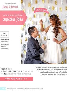 DIY Photo Backdrops   WeddingWire SUMMERBOOK 2014  Use cupcake liners on string!