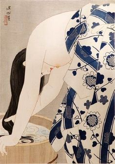 Washing the Hair, 1953, Ito Shinsui.