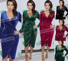 Womens Celebrity Wrap Tunic Cocktail Party Club Evening Sheath Pencil Dress 048 #VfEmage #WrapDress #Casual
