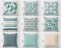 Throw Pillow Covers Navy Teal Aqua Beige Green by HLBhomedesigns Sofa Pillow Covers, Cushions On Sofa, Throw Pillows, Accent Pillows, Lumbar Pillow, Sofa Throw, Living Room Decor, Bedroom Decor, White Decorative Pillows