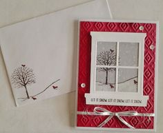 handmade Christmas card and matching envelope ... Hearth and Home Thinlits Dies ... winter scene seen through the window die ... luv the red texture main panel too ... Stampin' Up!
