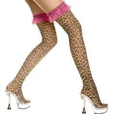 Leopard print thigh hi with contrast color ruffle lace top.