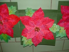 Oil Pastel Collage Poinsettia