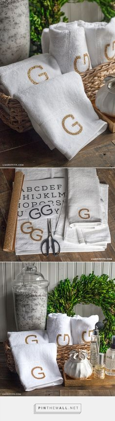 Simple and Elegant Monogrammed Towels - Free printable template. More ideas and inspiration at www.liagriffith.com