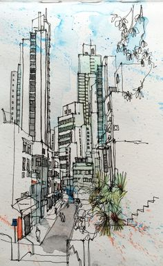 love the paint spatter. Voyage Sketchbook, Art Sketchbook, Sketch Painting, Watercolor Sketch, Hong Kong Building, Hong Kong Art, City Drawing, City Sketch, Urbane Kunst