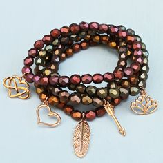 Bohemian beaded bracelet stack designed by Denise Yezbak Moore