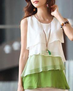 Chiffon Shirt, Chiffon Tops, Chiffon Blouses, Sleeveless Blouse, Sheer Shirt, Street Style Chic, Tiered Tops, Spring Shirts, Summer Blouses