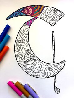 Letter T Zentangle Inspired by the font Deutsch