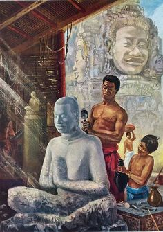 """Sculpting an Image of King Jayavarman VII"" by Maurice Fievet."