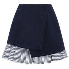 Navy Blue Wrap Stripe Ruffle Hem A-line Skirt (23,790 KRW) ❤ liked on Polyvore featuring skirts, navy striped skirt, zipper skirt, blue skirt, wrap skirts and navy stripe skirt
