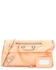 Balenciaga Classic Metallic Edge Leather Envelope Strap Bag
