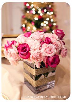 Glitter wrapped vase