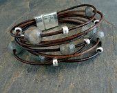 Leather Bracelet,Sterling Silver Bracelet, faceted Labradorite, Multi Strand Bracelet, Boho, Chic