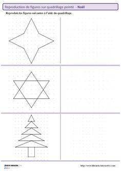 Des figures géométriques sur le thème de noël à reproduire sur un plan pointé…