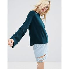 ASOS Jumper with Tiered Double Ruffle ($42) ❤ liked on Polyvore featuring tops, sweaters, green, green sweater, ruffle top, lightweight sweaters, asos sweater and blue crewneck sweater