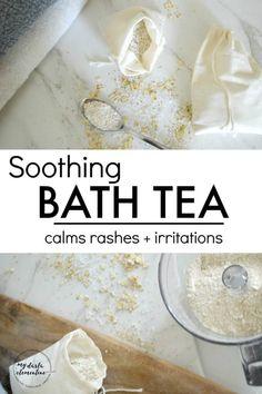 DIY Masque : Description Soothing Bath Tea Recipe (calms rashes, bug bites, irritations & more! Rashes Remedies, Skin Care Remedies, Bath Recipes, Tea Recipes, Coconut Oil Diaper Rash, Baking Soda Bath, Oatmeal Bath, Diy Masque, Bath Tea