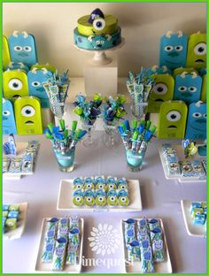 Baby Shower Boy Theme Monsters Inc 47 Ideas Monster University Birthday, Monster 1st Birthdays, Monster Birthday Parties, First Birthdays, Monster Party, Monster Cupcakes, Easy Birthday Party Games, Baby Boy 1st Birthday Party, Birthday Ideas