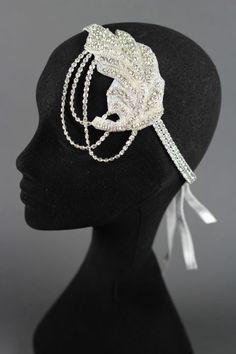 Austrian Crystal Headband with velvet ribbon by Marie Galvin of Galvinized Hats
