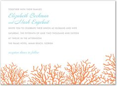 Beautiful invitation features classic coral in orange cream color appears at the bottom of the card. Perfect for wedding invitations, bridal shower invitations, and much more. Casual Wedding Invitations, Beach Invitations, Bridal Shower Invitations, Birthday Party Invitations, Palms Hotel, Coral Blue, Stationery Design, Tropical, Google