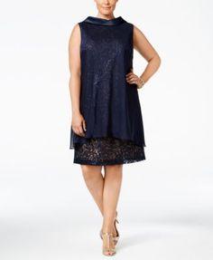 SL Fashions Plus Size Sequined Lace Chiffon-Overlay Dress
