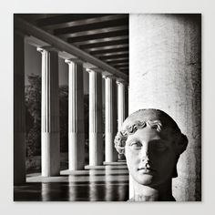 Head of Victory, Stoa of Attalos, Athens Greece, black and white square Canvas Print by kostaspavlis Fine Art Prints, Canvas Prints, Square Canvas, Phase 2, Latest Generation, Athens Greece, Victorious, Black And White, Store