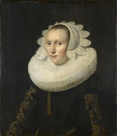 The style of this portrait is reminiscent of Paulus Moreelse. The sitter is in typical Dutch costume of around 1625: she wears a tight-fitting black overdress, often worn by unmarried women (married women wore a looser 'vlieger' gown with a gold or colourful stomacher called a 'borst', seen in Frans Halss 1625 portrait of Aletta Hanemans  in the Mauritshuis). The sitter here also wears a millstone ruff and lace trimmed cap; her bodice sleeves are of black silk probably woven with gold.