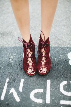 Marsala lace shoes