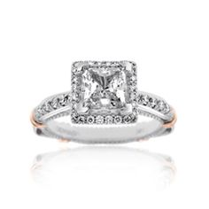 Reis-Nichols Jewelers : Verragio Diamond Engagement Ring, designed to hold 1 ct princess cut center with halo