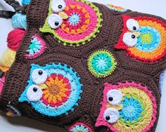CROCHET PATTERN  Owl Tote'em  a CoLorFuL owl tote  by TheHatandI