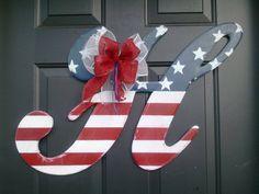 Patriotic Wooden Door Hanger