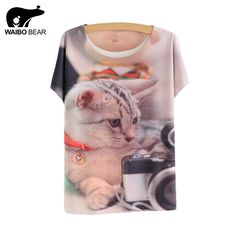 T-shirt New Fashion Summer Harajuku Animal Cat Print Shirt Thin style batwing Sleeve T Shirt Women Tees Top