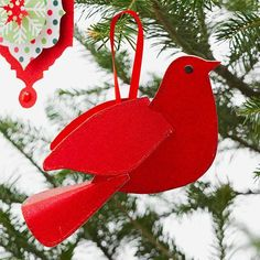 Red Bird Christmas Ornament - That's exactly what I was seeking to make and hang inside of a small Christmas wreath...