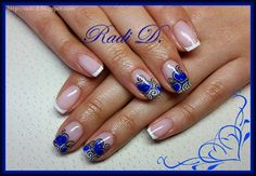 It`s all about nails: French with blue hearts and swirls http://radi-d.blogspot.com/2015/01/french-with-blue-hearts-and-swirls.html