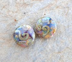 Lampwork Beads Glass Bead Pair Unique by CandanLampworkBeads