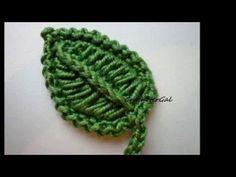 Crochet. Hoja para utilizar en apliques - YouTube