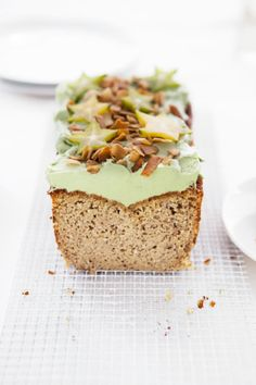 Buttermilk Coconut Loaf with Matcha Frosting and Coconut Chips. This snack is filled with healthy ingredients! Baking Recipes, Dessert Recipes, Desserts, Matcha Dessert, Green Tea Recipes, Butter, Strudel, Sweet Cakes, Sweet Bread
