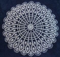 Handmade Crochet Cotton Doily With Pineapple Shape Details 23,5''