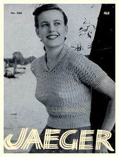 PDF Knitting Pattern for a Retro Jaeger Designed Roll Neck Lacy Jumper