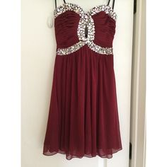 Deep Red Semi-Formal Rhinestone Dress Beautiful deep red semi-formal dress. Worn once! In EXCELLENT condition! Perfect for formal events. SIZE 5/6 WINDSOR Dresses Strapless