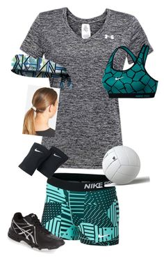 """Volleyball Practice"" by rachelames21 ❤ liked on Polyvore featuring NIKE, Under Armour, Asics and L. Erickson"