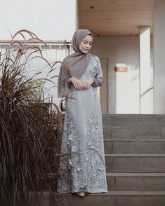 Image may contain: 1 person, standing and outdoor Hijab Gown, Kebaya Hijab, Hijab Dress Party, Hijab Style Dress, Kebaya Dress, Casual Hijab Outfit, Kebaya Wedding, Muslimah Wedding Dress, Abaya Fashion