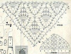 Photo From Album - Diy Crafts - Marecipe Crochet Shawl Diagram, Crochet Motif, Crochet Doilies, Crochet Lace, Crochet Stitches, Free Crochet, Shawl Patterns, Knitting Patterns, Crochet Patterns