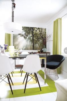 Dining Room:Pleasant Decoration Dining Room With Modern Style For Table With Stainless Steel Legs And Black White Chairs Also Pendant Lamp D...