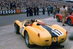 1958. Gorgeous rear shot of #17 privately entered Ferrari 250TR (#17). DNF - engine problems early in the race.