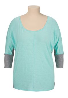 Teal scoop neck dolman plus size top