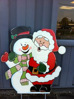 Christmas Santa & Snowman Holiday Wooden by fabsspiritcentral Christmas Yard Art, Christmas Yard Decorations, Christmas Wood, All Things Christmas, Christmas Holidays, Christmas Crafts, Handmade Christmas, Holiday Decor, Wooden Pattern