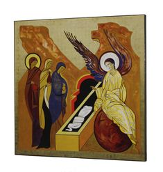 Icon ' The Resurrection ' , the work of Kiko Arguello, founder of the Neocatechumenal Way . Crown mystery of Almudena Cathedral ( Madrid). Religious Art, Cathedral, Mystery, Painting, Angels, Christianity, Etchings, Dibujo, Romans