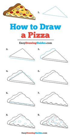 Learn to draw a tasty pizza. This step-by-step tutorial makes it easy. Kids and beginners alike can now draw a great looking pizza. drawing for beginners How to Draw a Pizza - Really Easy Drawing Tutorial Basic Drawing, Step By Step Drawing, Drawing For Kids, Drawing Tips, Food Drawing Easy, Drawing Techniques, Drawing Ideas, Drawing Drawing, Doodle Art For Beginners