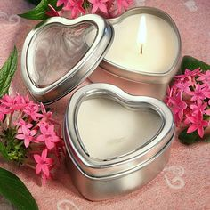 Mini Vanilla Heart Candle Tins by Beau-coup