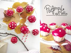 Fly mushroom muffins and ideas for a children's party in autumn – Ideen - Torten Cupcakes, Cupcake Cakes, Sheet Cake Recipes, Party Finger Foods, Food Humor, Cute Food, Caramel Apples, Yummy Cakes, Chocolate